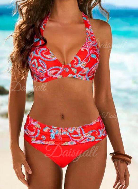 Print V-hals Strapless Sexy Kleurrijk Bikini's Badpakken
