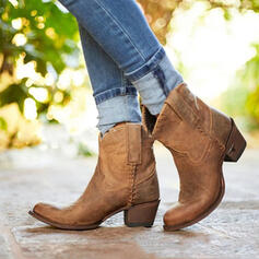 Vrouwen PU Chunky Heel Half-Kuit Laarzen Ronde neus met Klinknagel Las kleur schoenen