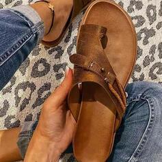 Vrouwen PU Flat Heel Sandalen Flats Peep Toe Slippers Teen Ring met Hol-out Kriskras schoenen