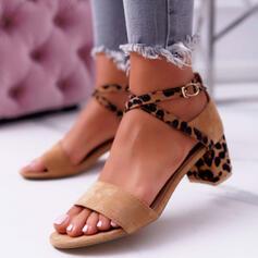 Vrouwen Suede Chunky Heel Sandalen Pumps Peep Toe Hakken met Gesp Dier Afdrukken schoenen