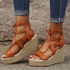 Vrouwen Doek Wedge Heel Sandalen Plateau Wedges Peep Toe Hakken met Vastrijgen Hol-out schoenen