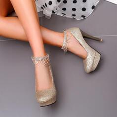 Vrouwen Sprankelende Glitter Stiletto Heel Sandalen Pumps Closed Toe met Sprankelende Glitter Keten Hol-out schoenen