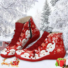 Vrouwen PU Flat Heel Knie Lengte Laarzen Ronde neus Winterlaarzen met Vastrijgen Las kleur schoenen