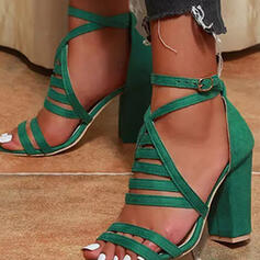 Vrouwen Suede Chunky Heel Sandalen Pumps Peep Toe Ronde neus met Gesp Hol-out Effen kleur schoenen