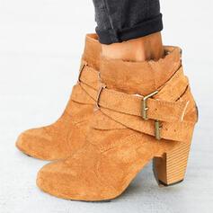 Vrouwen Suede Chunky Heel Half-Kuit Laarzen Ronde neus met Gesp schoenen