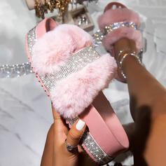 Vrouwen Kunstleer Sprankelende Glitter Flat Heel Sandalen Plateau Peep Toe Slippers met Strass Bont schoenen
