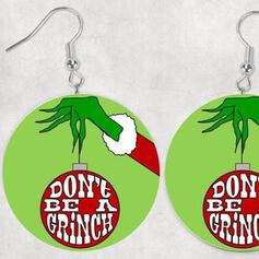 Heetste Kerstmis Grinch Hout Vrouwen Oorbellen 2 STUKS