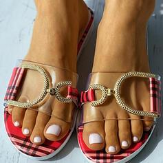 Vrouwen PVC Flat Heel Sandalen Flats Peep Toe Slippers met Hol-out Las kleur schoenen