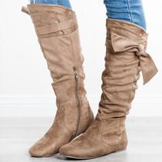 Vrouwen Suede Flat Heel Knie Lengte Laarzen Ronde neus met Rits Vastrijgen schoenen
