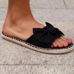 Vrouwen Zeildoek Flat Heel Sandalen Flats Peep Toe Slippers met strik Hol-out schoenen