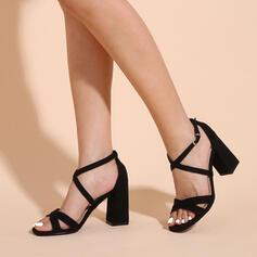 Vrouwen Stof Chunky Heel Sandalen Pumps Peep Toe Hakken met Gesp Hol-out schoenen