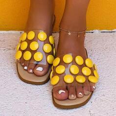 Vrouwen PU Flat Heel Sandalen Flats Peep Toe Slippers met Kralen Hol-out schoenen