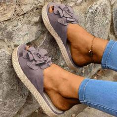 Vrouwen Suede Flat Heel Sandalen Flats Peep Toe Slippers met Bloem schoenen