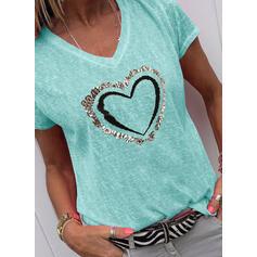 Print Pailletten Hart V-hals Korte Mouwen Casual T-shirts
