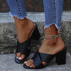 Vrouwen PU Chunky Heel Sandalen Pumps Peep Toe Slippers Hakken met Strass Effen kleur Kriskras schoenen