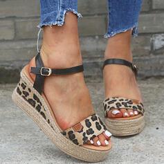 Vrouwen PU Wedge Heel Sandalen Wedges Peep Toe Hakken met Gesp Dier Afdrukken schoenen