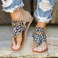 Vrouwen Kunstleer Stof Flat Heel Sandalen Flats Peep Toe met Dier Afdrukken Rits schoenen