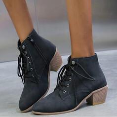 Vrouwen PU Chunky Heel Martin Boots Ronde neus met Vastrijgen schoenen