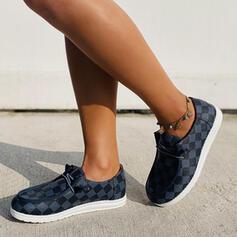 Vrouwen PU Flat Heel Flats Lage top Ronde neus Dans Sneakers met Vastrijgen Kriskras schoenen