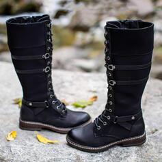 Vrouwen PU Flat Heel Half-Kuit Laarzen Martin Boots Ronde neus met Gesp Vastrijgen schoenen
