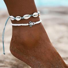 In de mode Koel Legering Gevlochten Touw met Schelp Strand sieraden Enkelbanden (Set van 2)