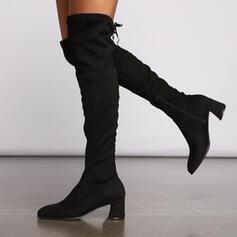 Vrouwen Suede Chunky Heel Over De Knie Laarzen Puntige teen met Rits Vastrijgen schoenen