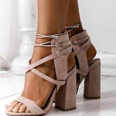 Vrouwen Suede Chunky Heel Sandalen Pumps Peep Toe Hakken met Vastrijgen Effen kleur schoenen