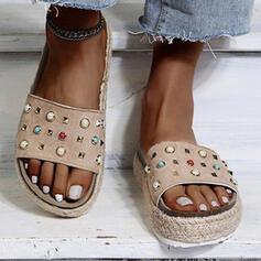 Vrouwen PU Flat Heel Sandalen Flats Plateau Peep Toe Slippers met Kralen Effen kleur schoenen