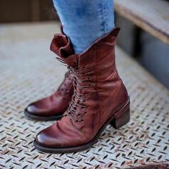 Vrouwen Kunstleer Chunky Heel Half-Kuit Laarzen Martin Boots Ronde neus met Ruched Vastrijgen schoenen