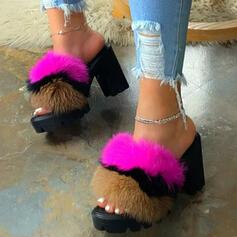 Vrouwen Kunstleer Chunky Heel Sandalen Pumps Plateau Peep Toe Slippers Hakken met Bont Elastiek schoenen