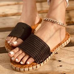 Vrouwen Nylon Flat Heel Sandalen Flats Peep Toe Slippers met Effen kleur Gestreept schoenen