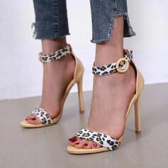 Vrouwen PU Stiletto Heel Sandalen Pumps Peep Toe Ronde neus met Gesp Dier Afdrukken Hol-out schoenen