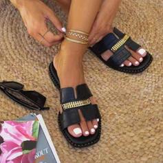Vrouwen PU Flat Heel Sandalen Flats Peep Toe Slippers met Keten Hol-out schoenen