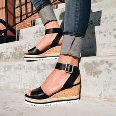 PU Wedge Heel Sandalen Wedges Peep Toe Hakken met Gesp schoenen