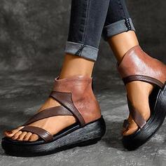 Vrouwen PU Flat Heel Sandalen Wedges Peep Toe Hakken met Rits schoenen