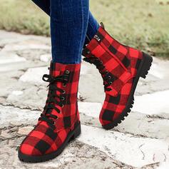 Vrouwen PU Chunky Heel Half-Kuit Laarzen Martin Boots Ronde neus met Rits Las kleur schoenen