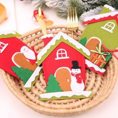Kerstmis vrolijk kerstfeest Sneeuwman Rendier de kerstman Huis Niet-geweven stof Servies Cover