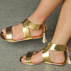 Vrouwen PU Flat Heel Sandalen Flats Peep Toe Slippers met Hol-out Tassel schoenen