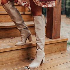 Vrouwen Kunstleer Chunky Heel Over De Knie Laarzen Rijlaarzen Ronde neus met Dier Afdrukken Ruched schoenen