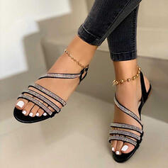 Vrouwen Kunstleer Sprankelende Glitter Flat Heel Sandalen Flats Peep Toe Slingbacks met Strass Gesp Hol-out schoenen