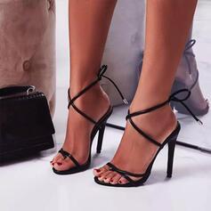 Vrouwen PU Stiletto Heel Pumps Peep Toe Hakken met Vastrijgen Hol-out schoenen