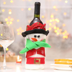 Kerstmis vrolijk kerstfeest Sneeuwman de kerstman Niet-geweven stof Wijnfles Cover