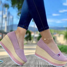 Vrouwen Doek Mesh Wedge Heel Sandalen Wedges Peep Toe Hakken met Effen kleur schoenen