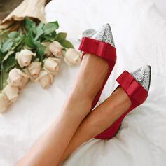 Vrouwen Satijn Flat Heel Flats Aantrekken met Sprankelende Glitter schoenen