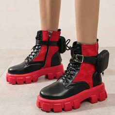 Vrouwen PU Flat Heel Enkel Laarzen Martin Boots Ronde neus met Gesp Las kleur schoenen
