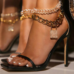 Vrouwen PU Stiletto Heel Sandalen Pumps Peep Toe Vierkante teen met Keten Hol-out schoenen