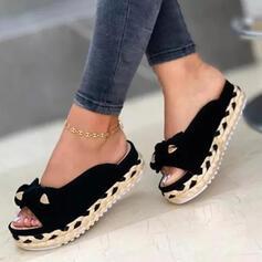 Vrouwen Suede Flat Heel Sandalen Flats Peep Toe Slippers Ronde neus met strik Bont Gevlochten Riempje Effen kleur schoenen