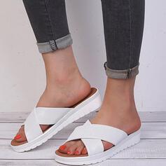 Vrouwen Doek Flat Heel Sandalen Plateau Peep Toe Slippers met Effen kleur Kriskras schoenen