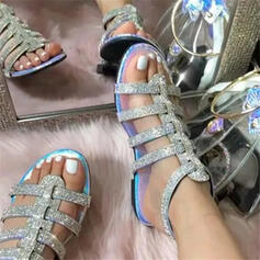 Vrouwen EVA Flat Heel Sandalen Flats Peep Toe met Strass Sprankelende Glitter Gesp Hol-out schoenen
