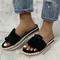 Vrouwen Zeildoek Flat Heel Sandalen Peep Toe met Satijnen Strik Hol-out schoenen